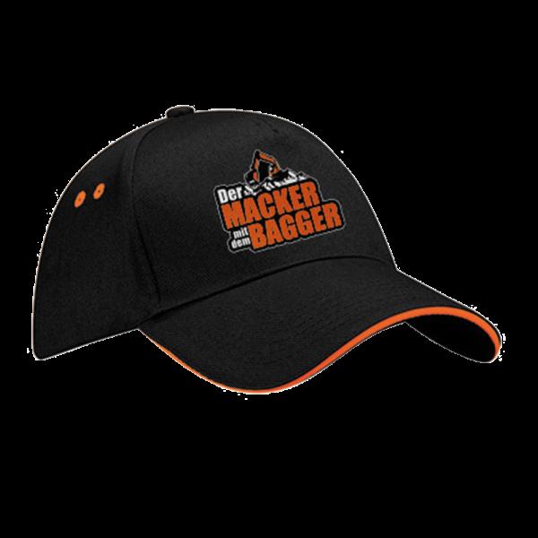 Der Macker mit dem Bagger - Cap [schwarz/orange]