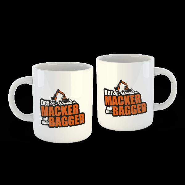 Der Macker mit dem Bagger - Tasse Logo [weiß]