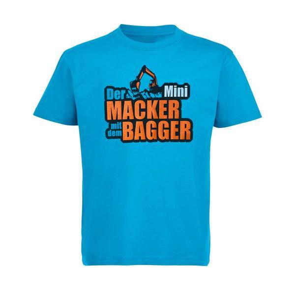 Der Macker mit dem Bagger - Kinder T-Shirt Mini NEU [Aqua]